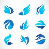 Wings, flow, water icons — Vetor de Stock