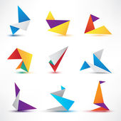 Origami icons or logos — Stock Vector