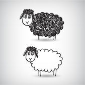 Doodle cartoon sheep — Stock Vector