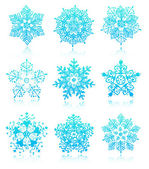 Snowflakes with reflections — Stockvektor