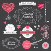 Wedding vintage hand drawn invitation, — Stock Vector
