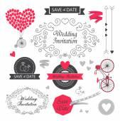 Старинное свадебное приглашение — Cтоковый вектор