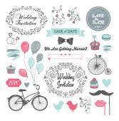 Wedding invitation design elements — Stock Vector