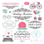 Wedding vintage set — Stock Vector