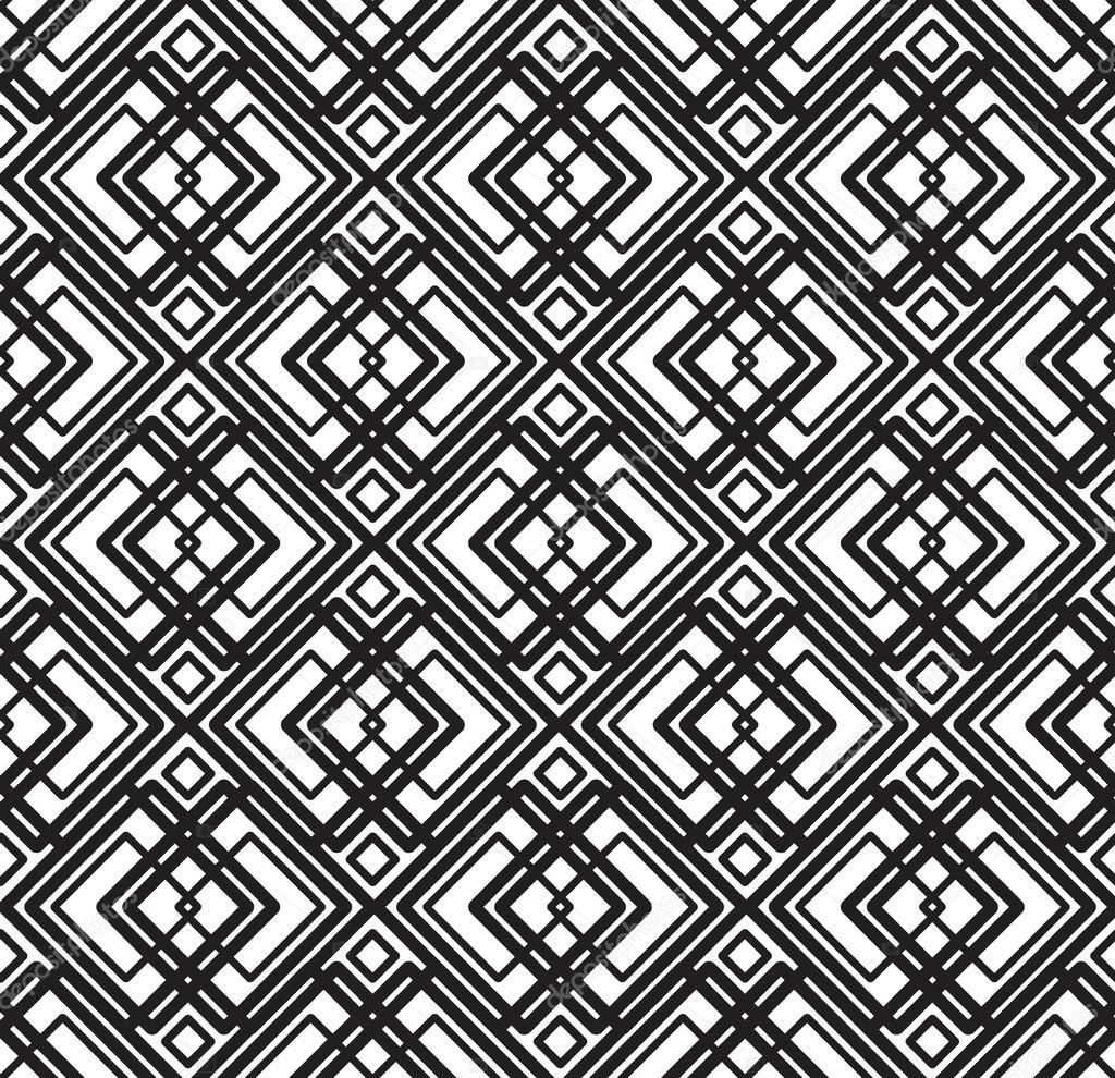 矢量抽象几何无缝黑色和白色背景– 图库插图