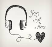 Doodle headphones with heart — Stock Vector