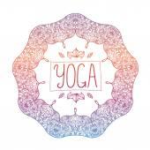 Ornamental yoga badge — Stock Vector