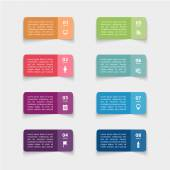 Paper stickers infographic set — Stock Vector