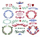 Floral hand drawn decorative set — Stock Vector