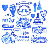 Blue wedding design set. — Stock Vector
