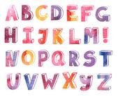 Alfabeto disegnato a mano dell'acquerello — Vettoriale Stock