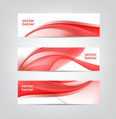 Abstract wavy red banners — Stock Vector