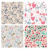 Vector set of hand drawn vintage seamless bicycle patterns, backgrounds — Stock Vector