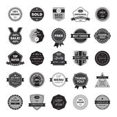 Vector set of retro, hipster black and white badges — Stock Vector