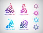 Abstract floral icons — Stock Vector