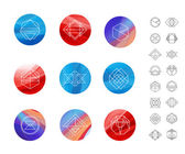 Circles with geometric shapes — Stock Vector