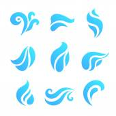 Water And Drop Icons Set - Is — Stock Vector