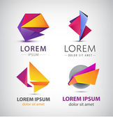 Colorful origami icon set — Stock Vector