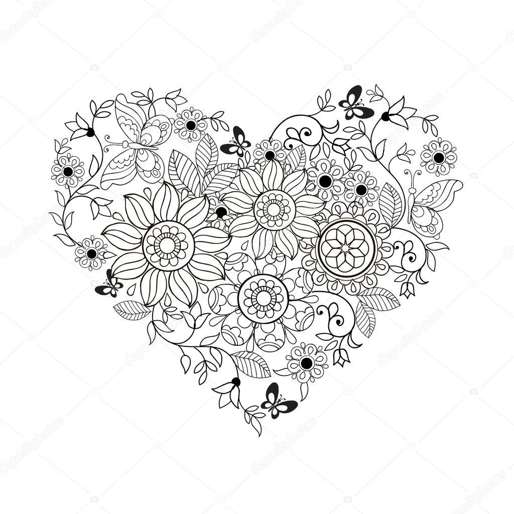hart bloemen en vlinders voor boeken kleurplaten voor