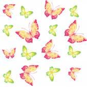 Seamless watercolor butterfly pattern. Vector illustration — Vector de stock