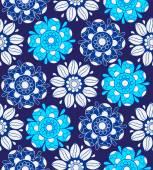 Inconsútil patrón floral en colores azules. — Vector de stock