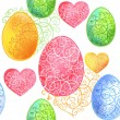 Beautiful seamless pattern with eggs and heart for Happy Easter.  Vector illustration — Stock Vector #67671503