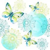 Seamless watercolor butterflies pattern. Vector illustration — Stock Vector