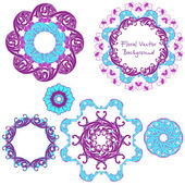 Ornamental round floral pattern. Set ornaments. Vector illustration. — Stock Vector