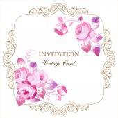Beautiful frame with pink roses in vintage style on a white background. For wedding cards, invitations. — Vecteur