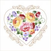 Beautiful multicolored heart with roses and other flowers. Spring or summer design for invitation and greeting cards — Stock Vector