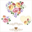 Multicolor set of hearts with roses and flowers. Spring or summer design for invitation and greeting cards — Stock Vector #77611666