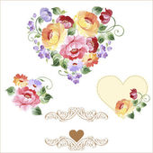 Multicolor set of hearts with roses and flowers. Spring or summer design for invitation and greeting cards — Stock Vector