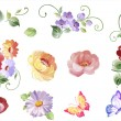 Set  watercolor floral elements - leaves and flowers, butterflies  in vector. Isolated on the white background, easy editable and great for floral compositions.Design for invitation, wedding or greeting cards. — Stock Vector #77912602