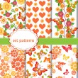 Set of multicolored seamless pattern with flowers and butterflies. — Vetor de Stock  #80448320