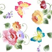 Colorful floral seamless pattern with butterflies. Watercolor painting. Vector illustration. — Stock Vector
