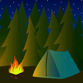 Camping in pine forrest — Stock Vector