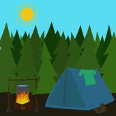 Camping tent in pine forrest — Stock Vector
