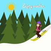 Girl riding on ski — Stock Vector