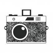 Starodawny aparat z kwiatami — Wektor stockowy