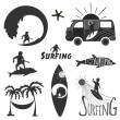 Set of vintage surfing labels — Stock Vector #74753747