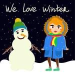 Cartoon girl and snowman — Stok Vektör #74756401