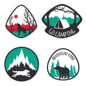 Colored set of camping emblems, — Stock Vector