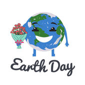 Planet with bouquet of flowers on Earth Day — Stock Vector