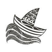 船と波と海のポスター. — ストックベクタ