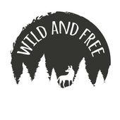 Τυπογραφία έννοια με το λύκο στο δάσος — Διανυσματικό Αρχείο