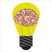 Bulb with brain inside — Stock Vector