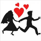Just married couple silhouettes — Stock Vector