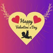 Valentine greeting card with cupid — Stock Vector