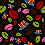 Seamless pattern with coffee beans — Stock Vector