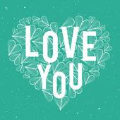 Romantic vector heart with word Love — Stock Vector
